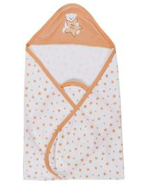 Zero Hooded Wrapper With Star Print - White & Light Peach