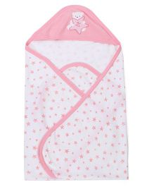 Zero Hooded Wrapper With Star Print - White & Pink