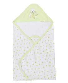 Zero Hooded Wrapper With Star Print - White & Mint Green