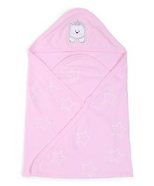 Zero Stars Print hooded Wrapper - Pink