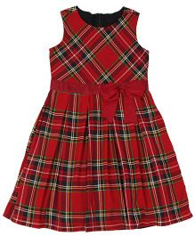 Teeny Tantrums Sleeveless Check Twill Dress - Red