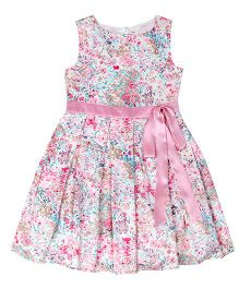 Teeny Tantrums Floral Pleated  Party Wear Dress With Ribbon - Pink