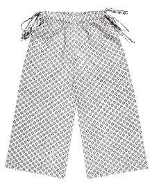 Teeny Tantrums Palazzo With Handloom Fabric - White & Black