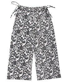 Teeny Tantrums Palazzo With Handloom Fabric - Black