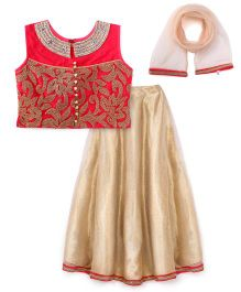 Violet Lehenga Choli With Dupatta - Carrot Golden