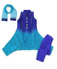 Violet Indo Western Kurti Churidar Dupatta Set - Blue