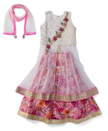 Violet Floral Design Lehenga Choli With Attachable Sleeves And Dupatta - Cream & Pink