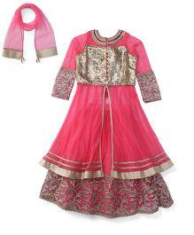 Violet Lehenga Long Sleeves Choli And Dupatta Set - Gold & Pink