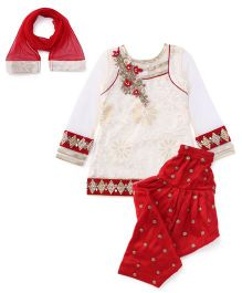 Violet Full Sleeves Kurti And Salwar With Dupatta Bead Detailing -  Cream Red