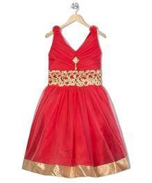 Aarika Empire Waist Embroidered Dress - Rose