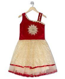 Aarika Off Shoulder Empire Waist Dress - Red
