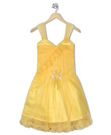 Aarika Sleeveless Dress With Floral Applique - Gold
