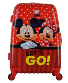 Disney Gamme Mickey & Minnie Kids Luggage Trolley Bag Red - 20 Inches