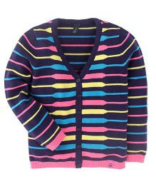 UCB Full Sleeves Cardigan Stripes Pattern - Navy