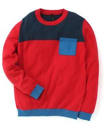 UCB Full Sleeves Sweater With Patch Pocket - Red And Blue