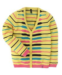 UCB Full Sleeves Cardigan Stripes Pattern - Yellow