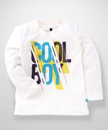 UCB Full Sleeves Cotton T-Shirt Cool Print - White