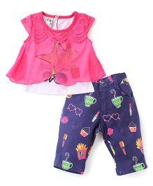 N-XT Cap Sleeves Top And Printed Pant Set - Pink & Navy