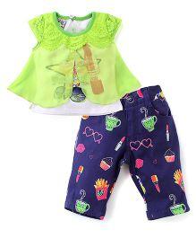 N-XT Cap Sleeves Top And Printed Pant Set - Green & Navy