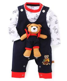Wow Clothes Teddy Bear Appliqued Romper With T-Shirt - Navy & White