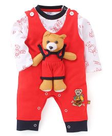 Wow Teddy Bear Appliqued Romper With T-Shirt - Red & White