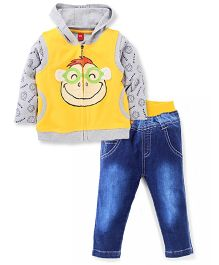Wow Clothes Full Sleeves T-Shirt And Jeans With Sweat Jacket Monkey Print - Yellow Blue Grey
