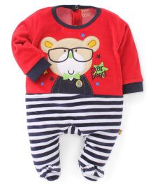 Wow Full Sleeves Footed Romper With Bear Patch - Red