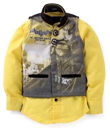 Finger Chips Full Sleeves Shirt With Jacket Batman Print - Yellow