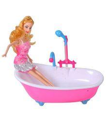 Magic Pitara Mini Water Bath Tub With Doll - Pink