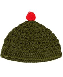 Kidofy Pompom Woolen Cap - Green