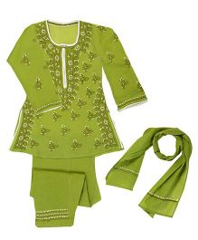 M'Andy Lucknowi Chikankari Embroidered Suit - Green