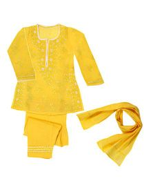 M'Andy Lucknowi Chikankari Embroidered Suit - Yellow