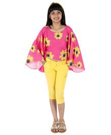 Silverthread Sunflower Printed Cape Top - Fuschia & Yellow