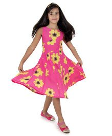 Silverthread Lovely Dress With A Sunflower Print - Fuschia & Yellow
