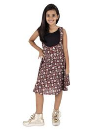 Silverthread Printed Dungaree Skirt With Plain Top - Maroon & Black