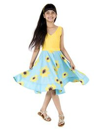 Silverthread Sunflower Printed Dress - Yellow & Blue