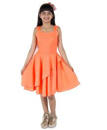 Silverthread Stylish Flair Dress In Polka Dots - Peach & Neon