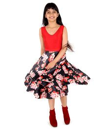 Silverthread Flair Dress - Red & Black