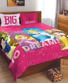 Spaces Disney Princess Printed Double Bedsheet With Pillow Cover - Pink
