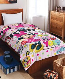 Spaces Disney Minnies Printed Cotton Single Comforter - Pink
