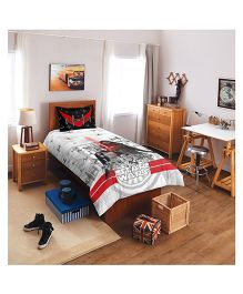 SPACES Marvel Star Wars Lucasfilm Printed Cotton Kids Single Bedsheet With 1 Pillow Cover - Grey