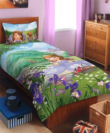 Spaces Disney Sophia Printed Cotton Kids Single Bedsheet With 1 Pillow Cover - Green