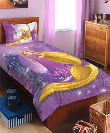 Spaces Disney Rapunzel Cotton Single Bedsheet With 1 Pillow Cover - Lavender
