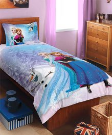 Spaces Disney Frozen Printed Cotton Kids Single Bedsheet With 1 Pillow Cover - Violet