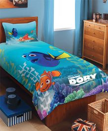 Spaces Disney Dory Cotton Single Bedsheet With 1 Pillow Cover - Sea Blue