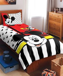 SPACES Disney Mickey Mouse Printed Cotton Kids Single Bedsheet With 1 Pillow Cover - Red