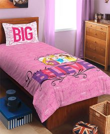 SPACES Disney Princess Printed Cotton Kids Single Bedsheet With 1 Pillow Cover - Pink