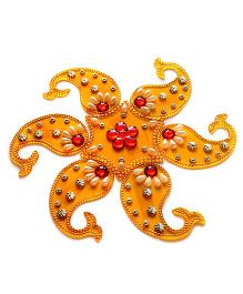 Dell's Decorations 7 Pieces Acrylic Rangoli - Orange