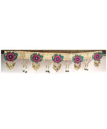 Dell's Decorations Heavy Zari Work Flower Embroidery With Pearl Hanging Bandarwar - Multicolour