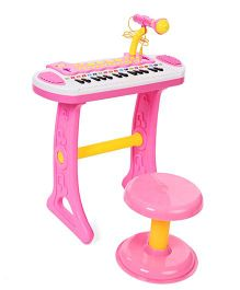 Comdaq Colorful Piano with Mike And Stool - Pink